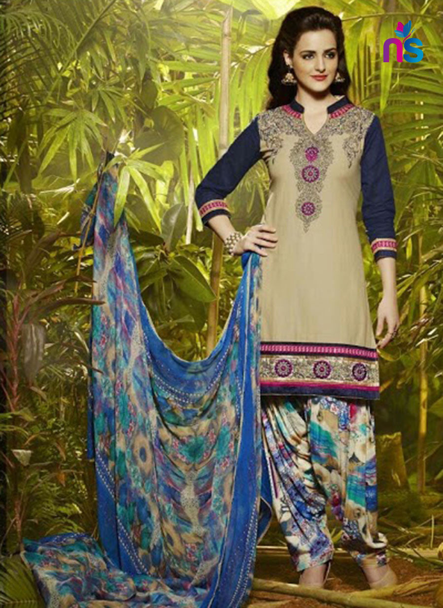 TanBrown and Multicolor Party Wear Pure Cotton Patiala Suit