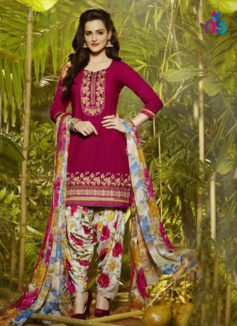 Patiala 5260 DarkMagenta and Multicolor Party Wear Pure Cotton Patiala Suit