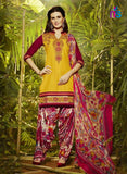 NS11294 GoldenYellow and Maroon Party Wear Pure Cotton Patiala Suit