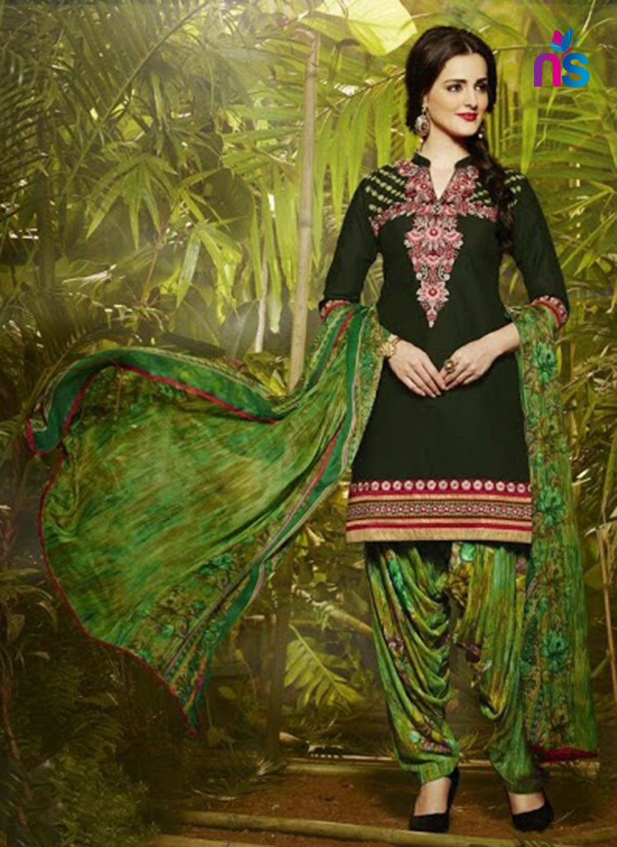 NS11295 ArmyGreen and Green Party Wear Pure Cotton Patiala Suit