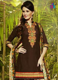 NS11296 Coffee Brown and Multicolor Party Wear Pure Cotton Patiala Suit