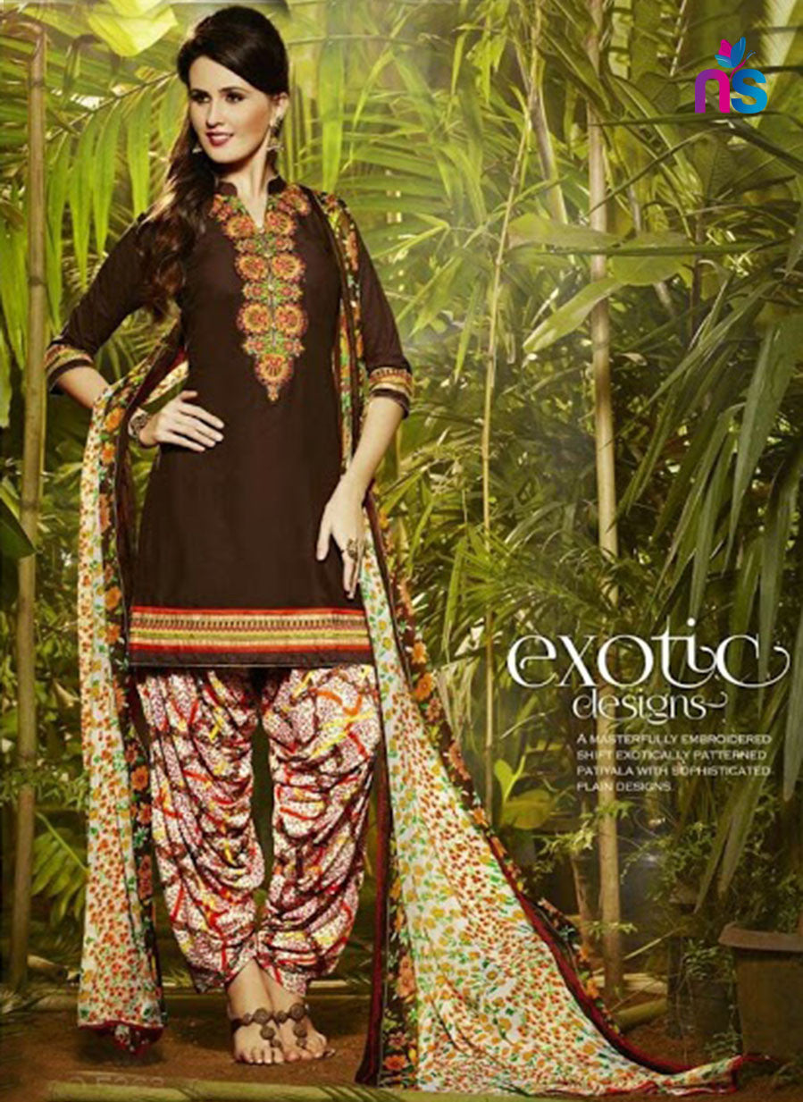 NS11296 CoffeeBrown and Multicolor Party Wear Pure Cotton Patiala Suit