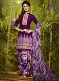 Purple and Multicolor Party Wear Pure Cotton Patiala Suit