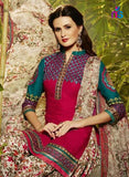 NS11298 DarkPink and Beige Party Wear Pure Cotton Patiala Suit