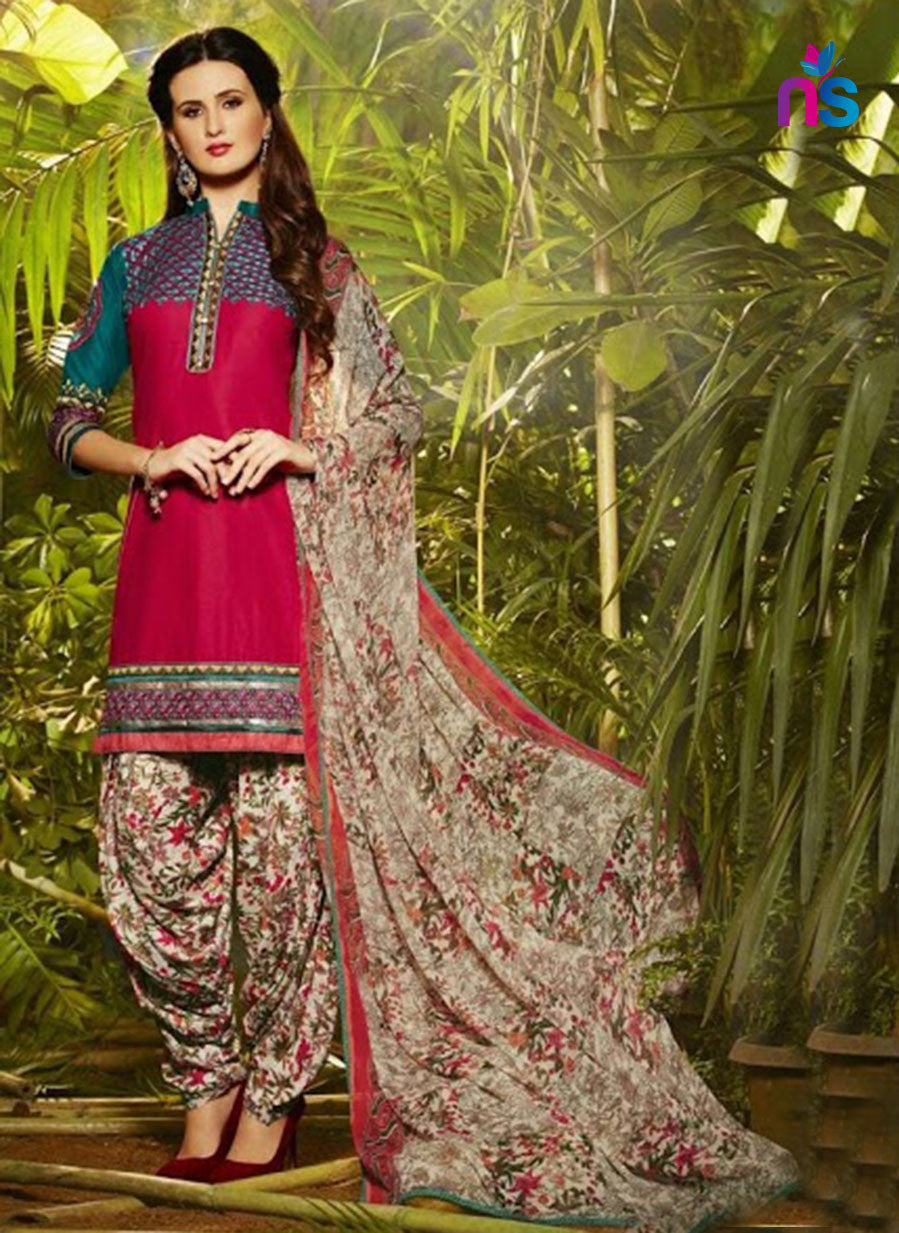NS11298 DarkPink and Biege Party Wear Pure Cotton Patiala Suit