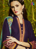 NS11299 LavenderBlue and SkyBlue Party Wear Pure Cotton Patiala Suit