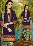 Patiala 5266 LavenderBlue and SkyBlue Party Wear Pure Cotton Patiala Suit
