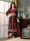 NS11512 Brown and Red Lawn Straight Suit