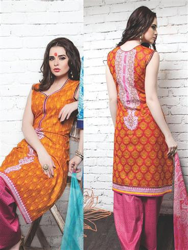 NS11341 Orange Red DarkPink Cotton Satin Pakistani Suit