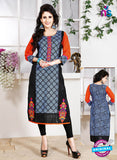 NS 12345 54001 Black and Blue Embroidered Printed Cotton Party Wear Stitched Kurti