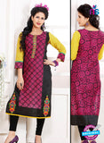 NS 12342 54002 Black and Magenta Embroidered Printed Cotton Party Wear Stitched Kurti
