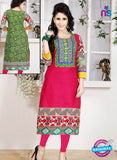 NS 12344 54003 Pink and Green Embroidered Printed Cotton Party Wear Stitched Kurti
