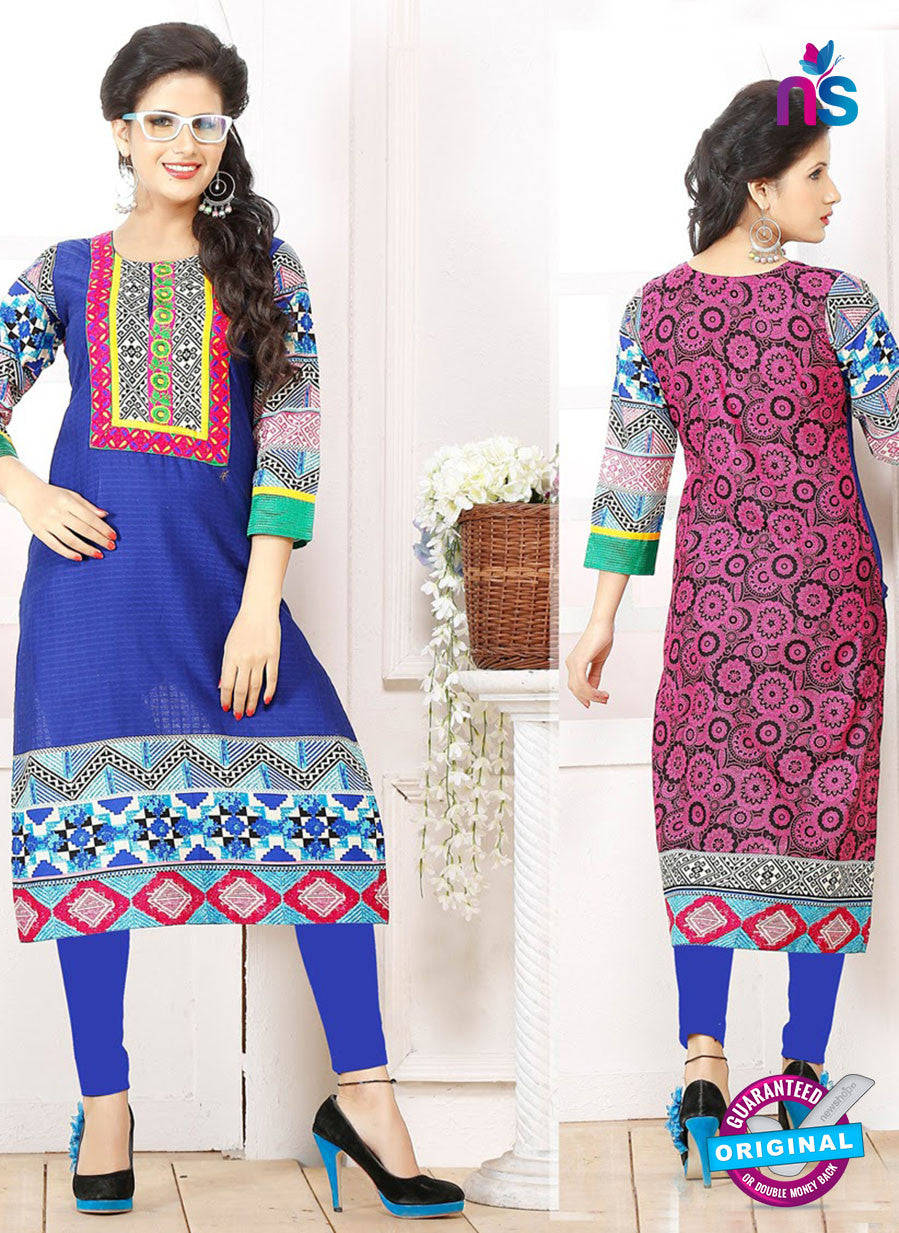 NS 12333 54004 Blue and Multicolor Embroidered Printed Cotton Party Wear Stitched Kurti