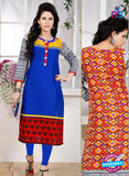 NS 12334 54005 Blue and Red Embroidered Printed Cotton Party Wear Stitched Kurti
