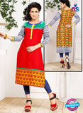 NS 12335 54006 Red and Multicolor Embroidered Printed Cotton Party Wear Stitched Kurti