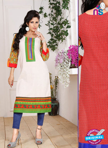 NS 12337 54007 White and Green Embroidered Printed Cotton Party Wear Stitched Kurti