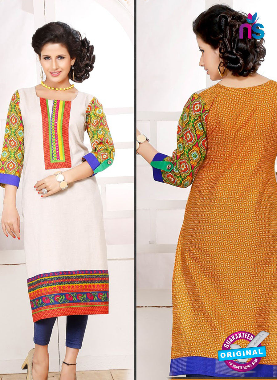 NS 12346 54008 White and Yellow Embroidered Printed Cotton Party Wear Stitched Kurti