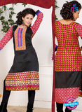 NS 12338 54009 Black and Multicolor Embroidered Printed Cotton Party Wear Stitched Kurti