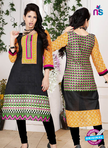 NS 12339 54010 Black and Orange Embroidered Printed Cotton Party Wear Stitched Kurti