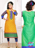 NS 12331 54011 Yellow and Green Embroidered Printed Cotton Party Wear Stitched Kurti