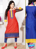 NS 12336 54012 Red and Blue Embroidered Printed Cotton Party Wear Stitched Kurti