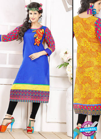 NS 12332 54013 Blue and Yellow Embroidered Printed Cotton Party Wear Stitched Kurti