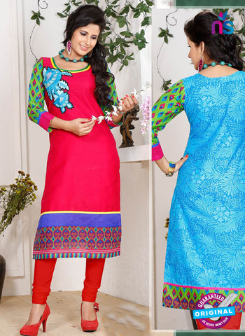 NS 12343 54014 Red and Blue Embroidered Printed Cotton Party Wear Stitched Kurti