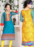 NS 12340 54015 Sky Blue and Yellow Embroidered Printed Cotton Party Wear Stitched Kurti
