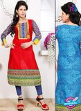 NS 12341 54016 Red and Blue Embroidered Printed Cotton Party Wear Stitched Kurti