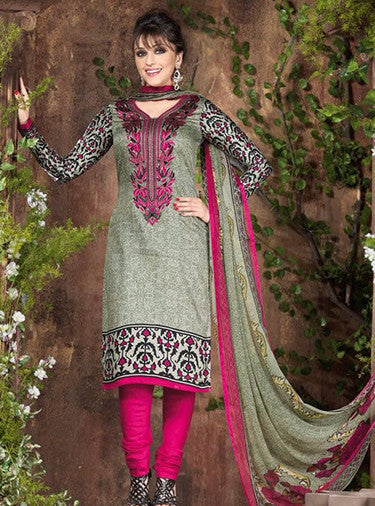 Rakhi 5442a Grey & Pink Color Galace Cotton Designer Suit