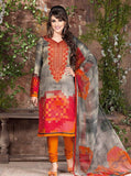 Rakhi 5443a Orange & Grey Color Galace Cotton Designer Suit