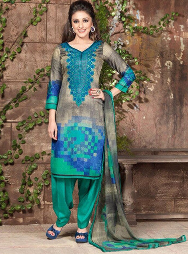 Rakhi 5443b Sea Green & Grey Color Galace Cotton Designer Suit
