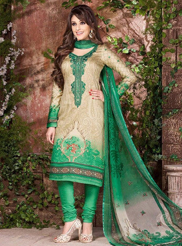 Rakhi 5445b Beige & Green Color Galace Cotton Designer Suit