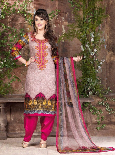 Rakhi 5446b Beige & Multi Color Galace Cotton Designer Suit