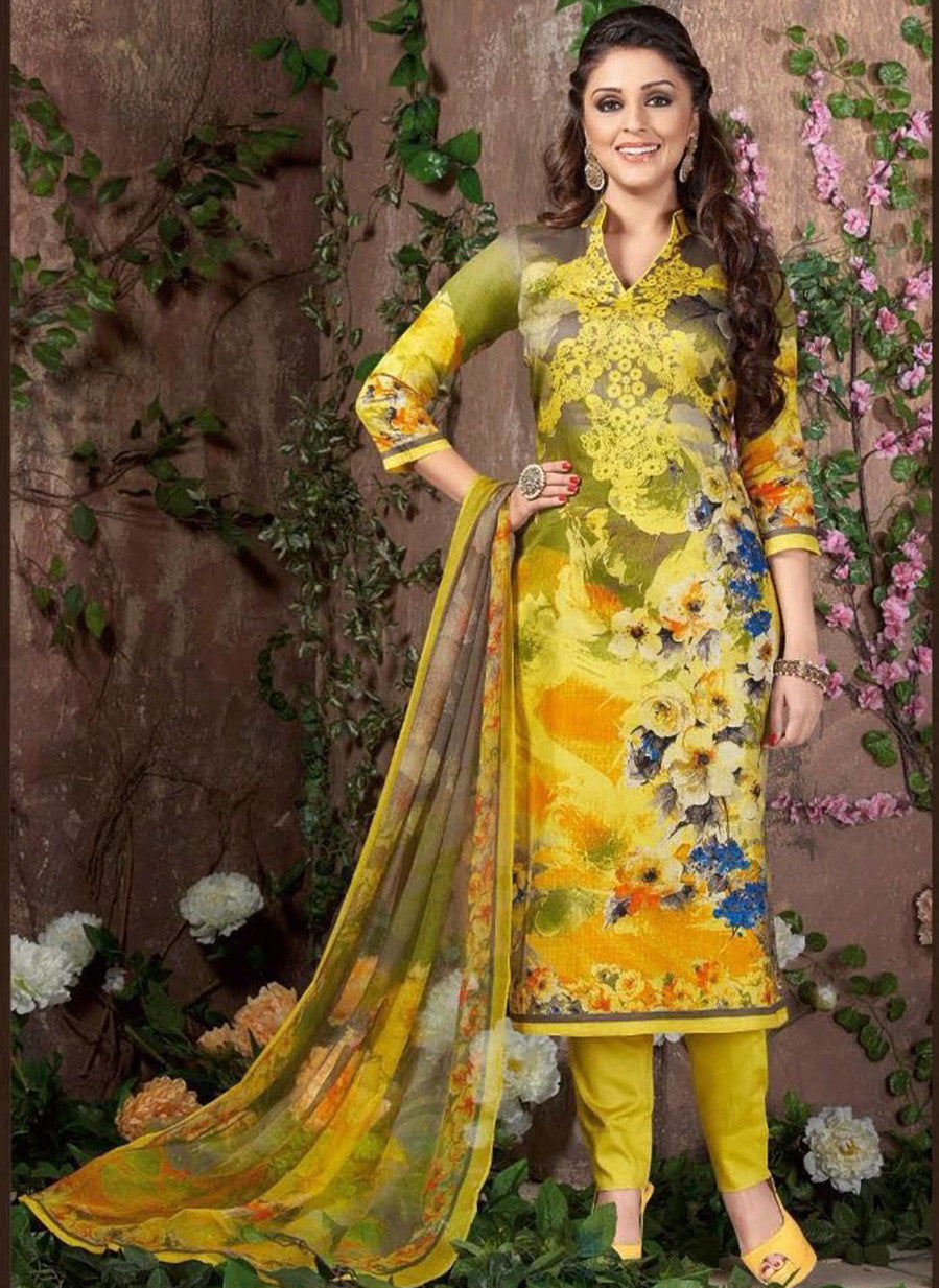 Rakhi 5452 B Yellow Color Glace Cotton Designer Suit