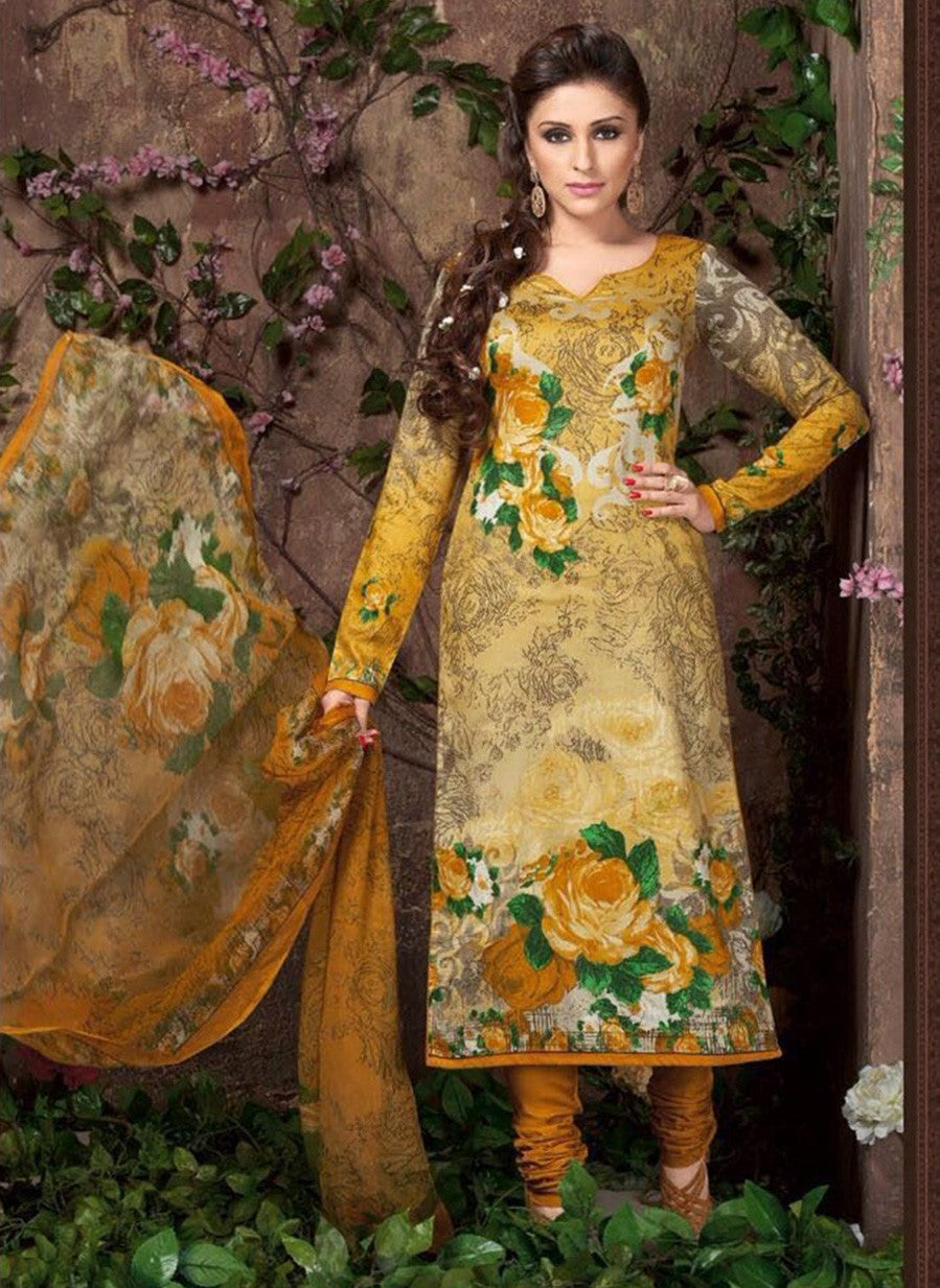 Rakhi 5453 A Yellow Color Glace Cotton Designer Suit