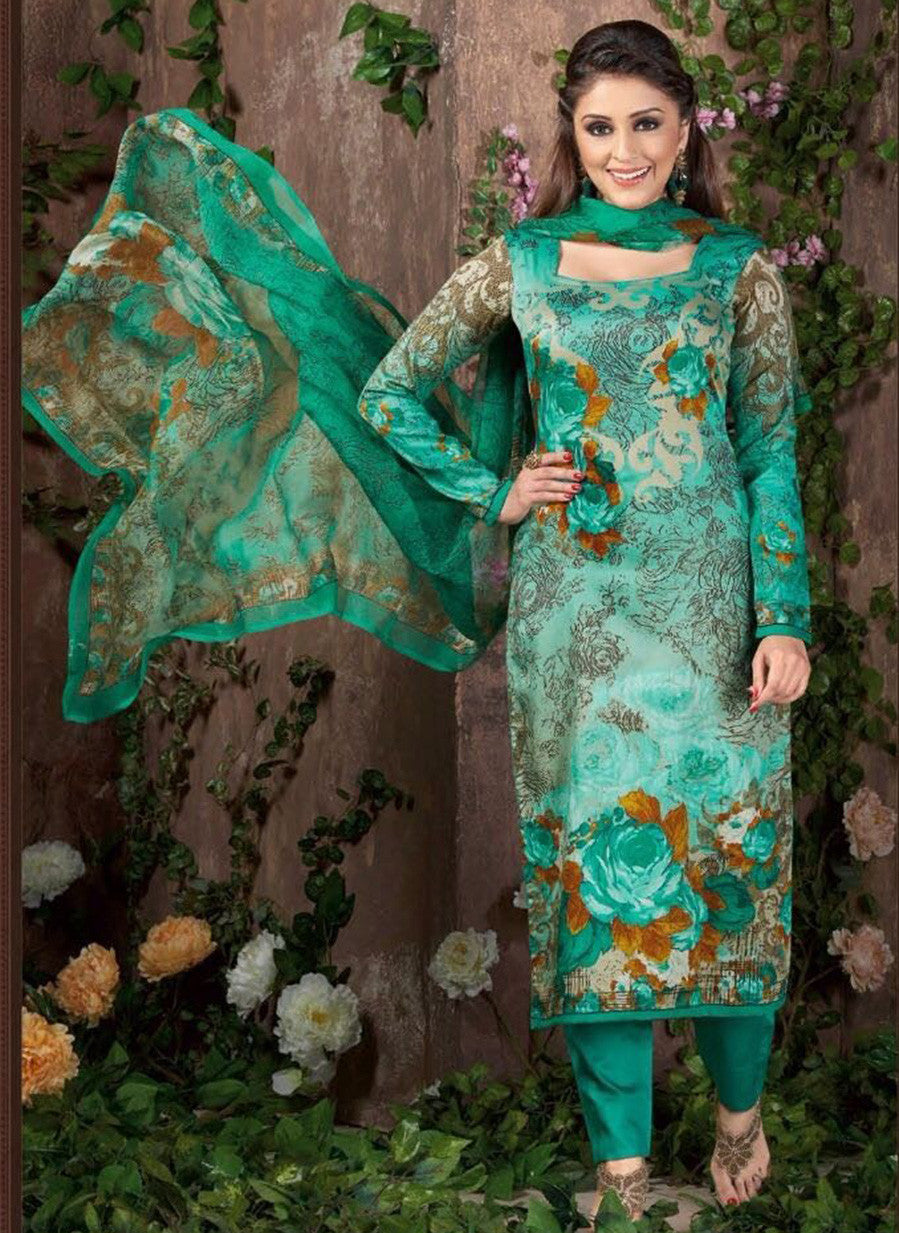 Rakhi 5453 B Sea Green Color Glace Cotton Designer Suit