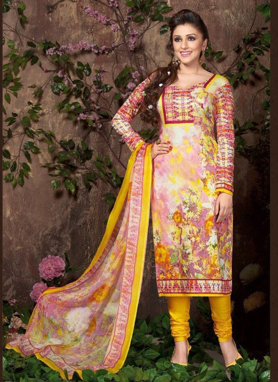 Rakhi 5454 A Yellow Color Glace Cotton Designer Suit