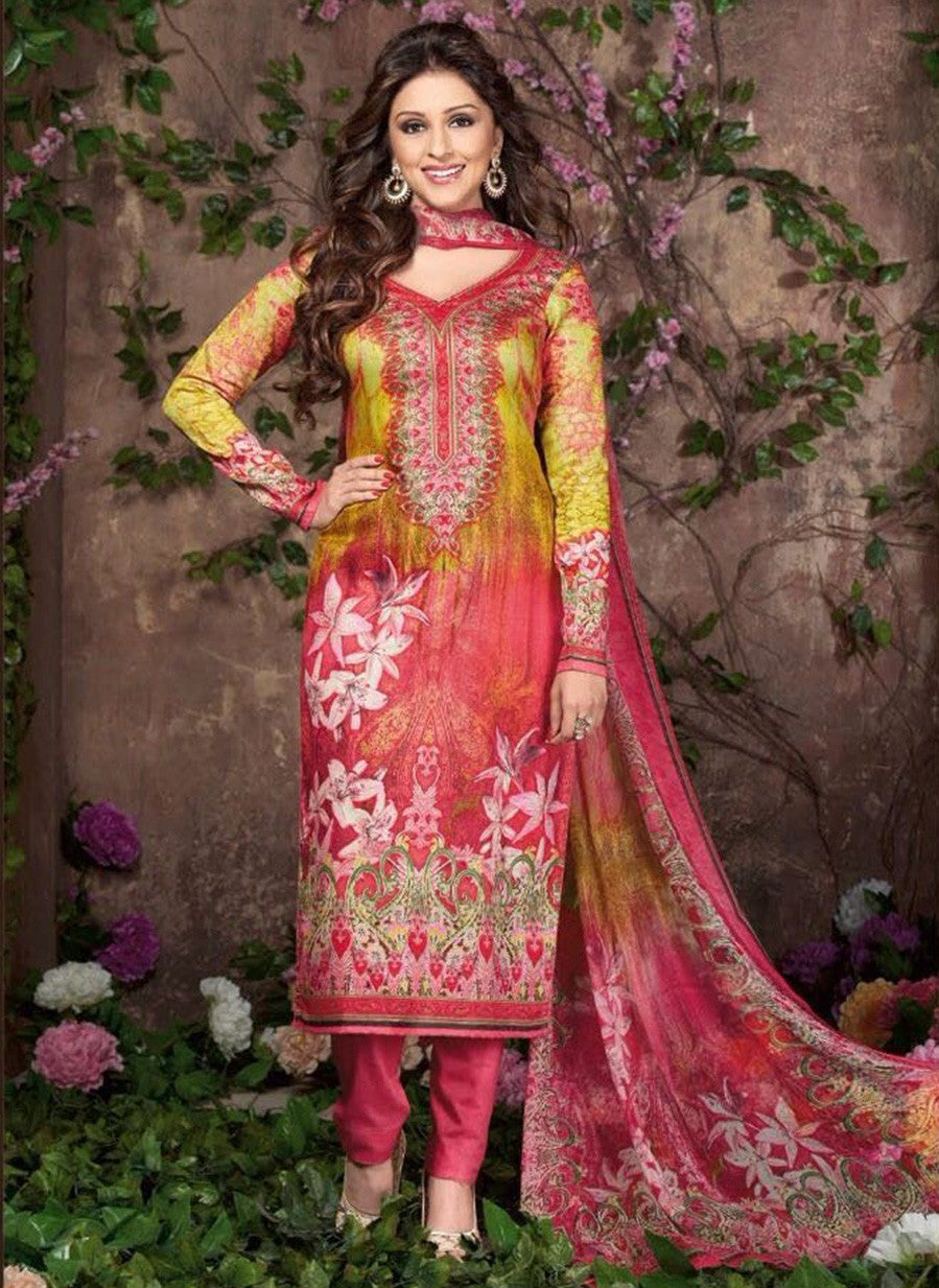 Rakhi 5457 A Peach & Yellow Color Glace Cotton Designer Suit