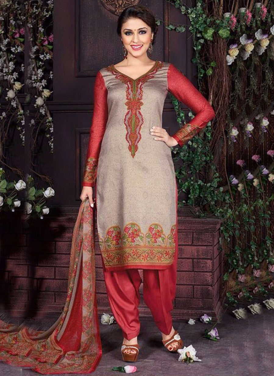 Rakhi 5459A Grey & Red Color Glace Cotton Designer Suit