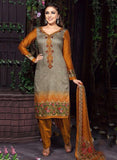 Rakhi 5460A Grey & Yellow Color Glace Cotton Designer Suit
