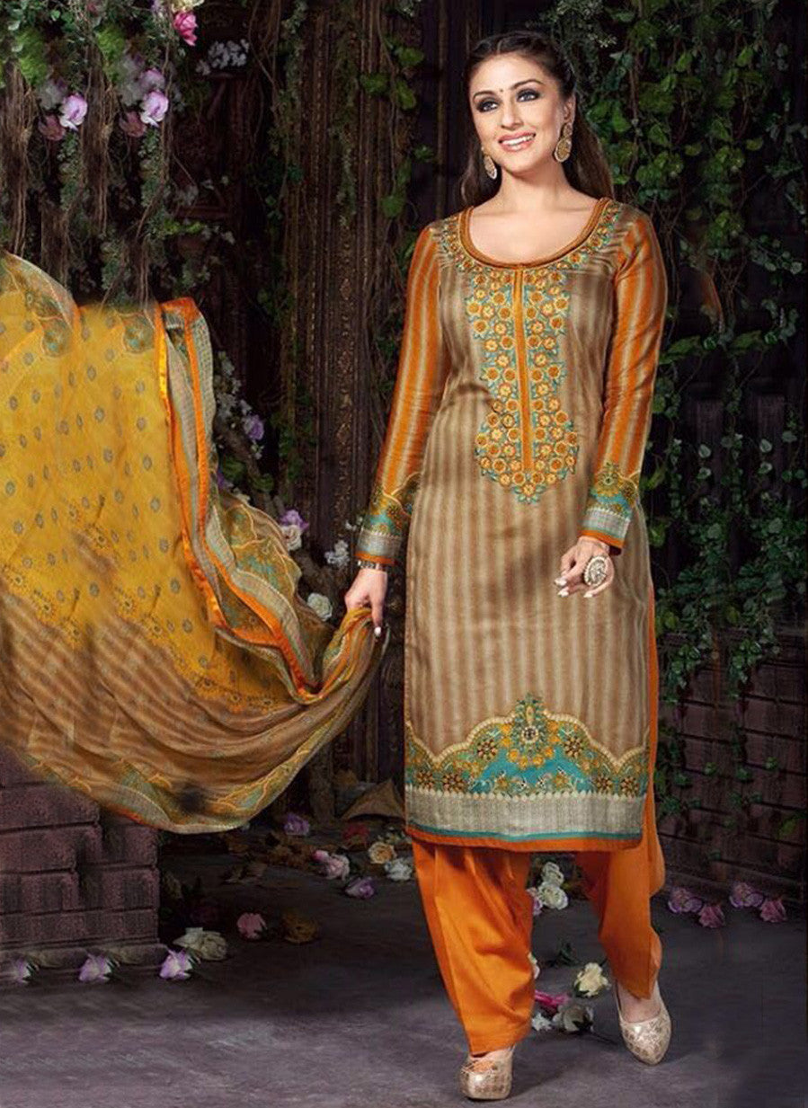 Rakhi 5463B Orange & Grey Color Glace Cotton Designer Suit