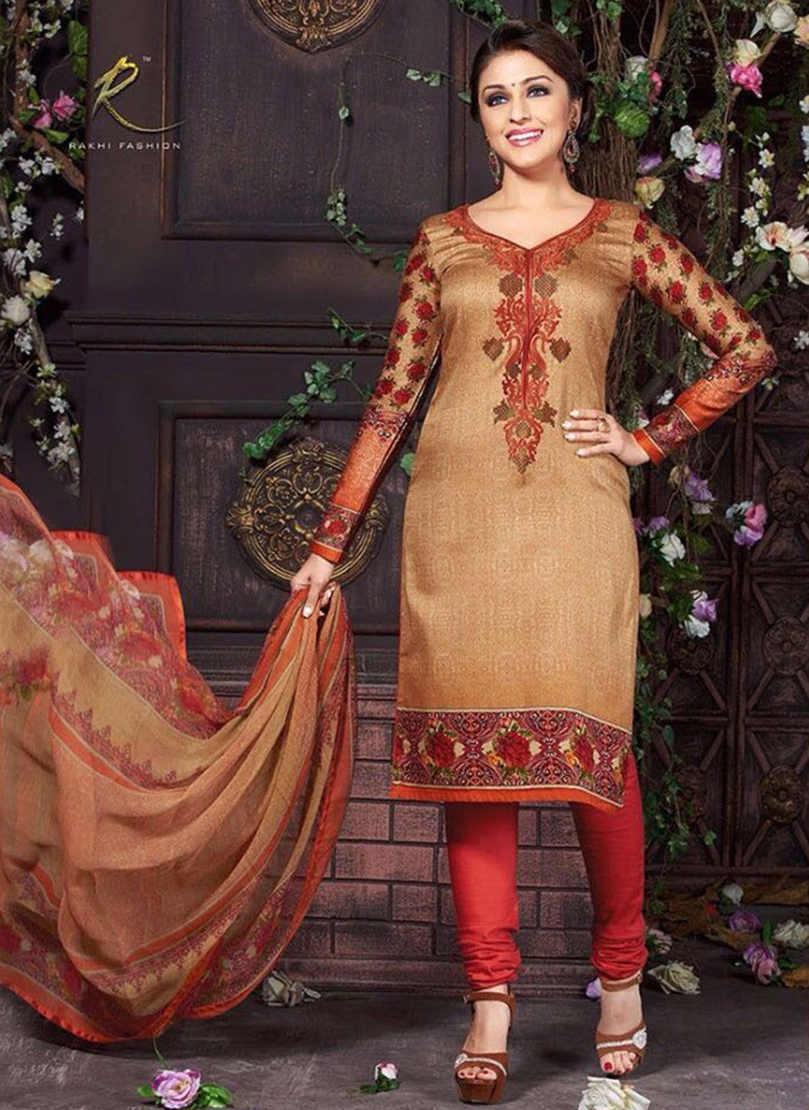 Rakhi 5464A Red Color Glace Cotton Designer Suit
