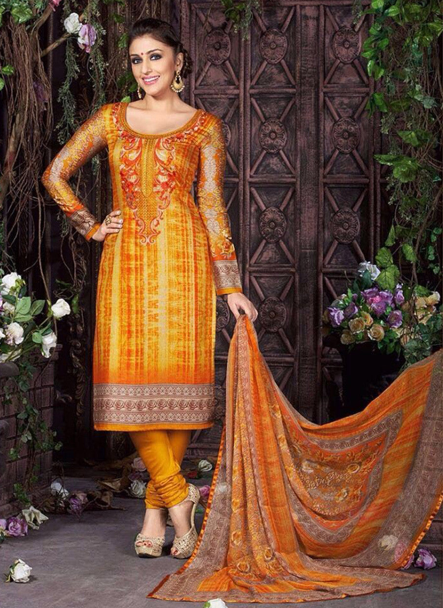 Rakhi 5466B Yellow Color Glace Cotton Designer Suit