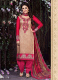 Rakhi 5467A Red & Grey Color Glace Cotton Designer Suit