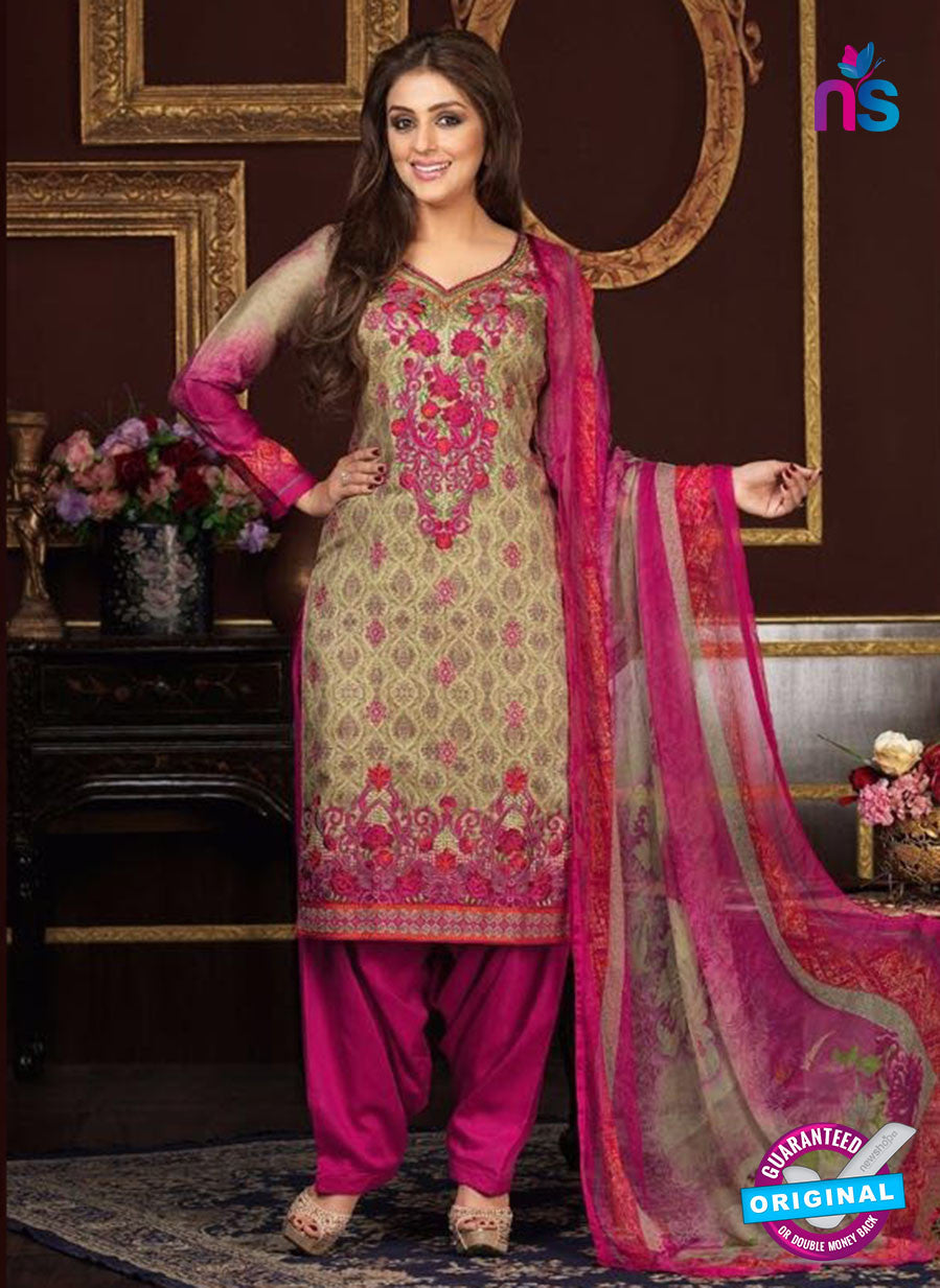 Rakhi 5471 A Beige and Pink Glace Cotton Patiala Suit