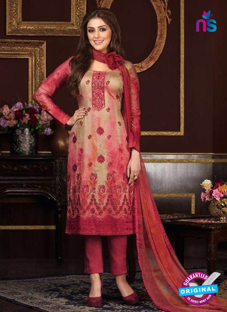 Rakhi 5473 A Beige and Pink Printed Glace Cotton Patiala Suit