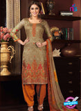 Rakhi 5474 A Beige and Orange Green Printed Glace Cotton Patiala Suit