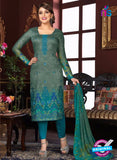 Rakhi 5474 B Grey and Sea Green Printed Glace Cotton Patiala Suit