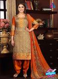 Rakhi 5475 A Beige and Orange Printed Glace Cotton Patiala Suit
